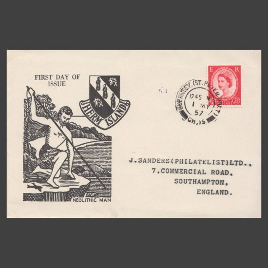 Herm Island 1957 Neolithic Man Set on First Day Cover (FDC) - front