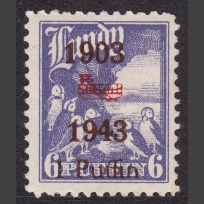 "Lundy 1943 Wright Brothers Biplane Overprint ""1903-43"" (1p - single value, U/M)"