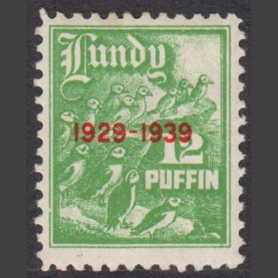 Lundy 1939 10th Anniversary of Lundy Post (12p - single value, U/M)