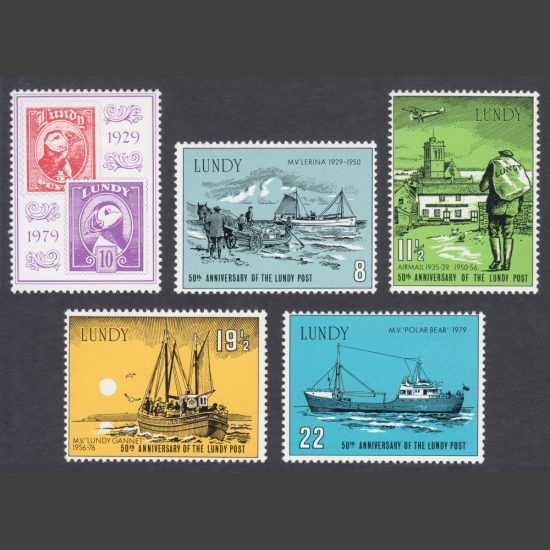Lundy 1979 50th Anniversary of Lundy Post (5v, 8p to 22p, U/M)