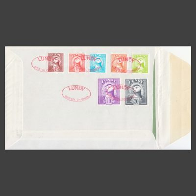 Lundy 1974 Puffin Bust Definitives First Day Cover (FDC) - reverse
