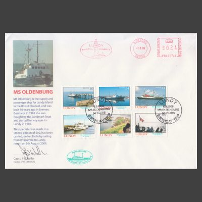 "Lundy 2008 50th Anniversary of the Launching of MS Oldenburg Set on Special Signed ""Birthday Sailing"" Cover"