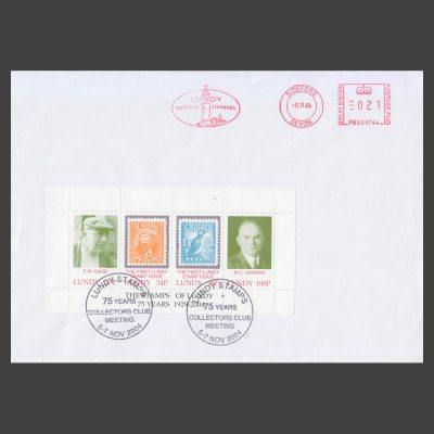 Lundy 2004 75th Anniversary of the First Lundy Stamps Miniature Sheet on Collectors Club Cover