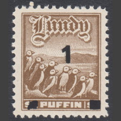 Lundy 1969 1p on 9p Provisional Surcharge in Black (U/M)