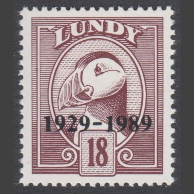 """Lundy 1989 18p 60th Anniversary of Lundy Post """"1929-1989"""" Overprint (U/M)"""
