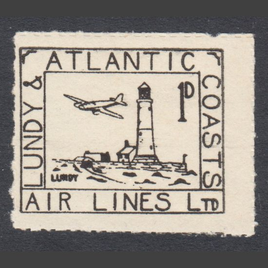 Lundy 1939 Lundy & Atlantic Coasts Air Lines 1d Black (U/M)