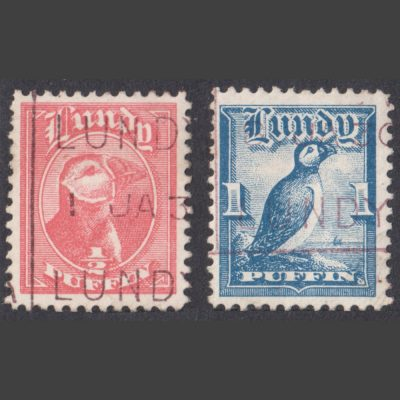 Lundy 1929 First Puffin Definitives (2v, ½p and 1p, Used)
