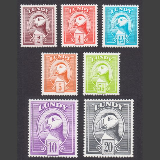 Lundy 1974 Puffin Bust Definitives (7v, 2p to 20p, U/M)