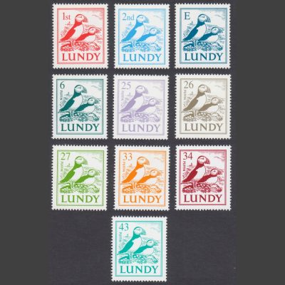 Lundy 2002 'Puffins on Coast' Definitives (New Colours & Values) Full Set (10v, 6p to E, U/M)