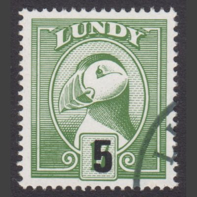 Lundy 1990 5p Provisional Puffin Bust Surcharge (Used)