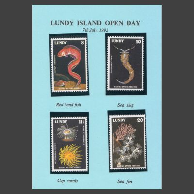 """Lundy 1978 Marine Nature Reserve Issue in """"Lundy Island Open Day"""" 1992 Souvenir (4v, 8p to 20p, U/M)"""