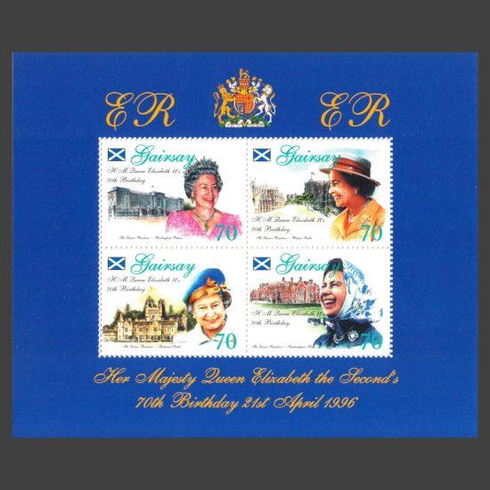 Gairsay 1996 Queen's 70th Birthday Sheetlet (4x 70p, U/M)