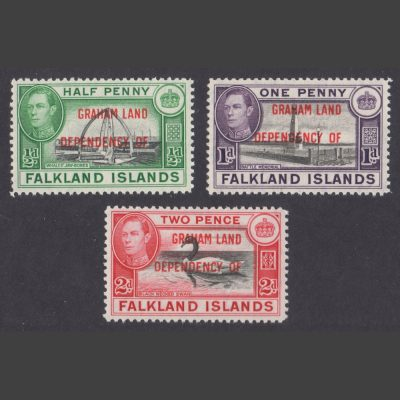 Falkland Islands Dependencies 1944 Graham Land Issue Part Set (SG A1-A3, U/M)