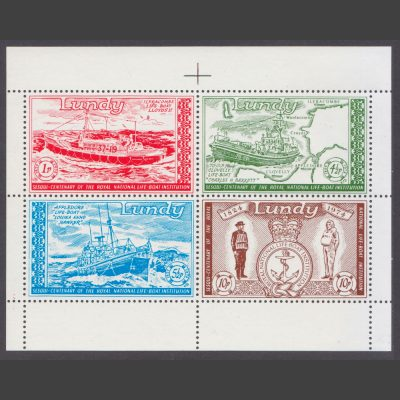 Lundy 1974 150th Anniversary of the Royal National Lifeboat Institution (RNLI) Sheetlet (4v, 1p to 10p, U/M)