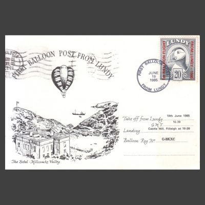 Lundy 1985 First Balloon Flight from Lundy Overprint Issue First Day Postcard