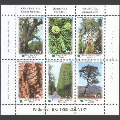 Summer Isles 2001 Perthshire - Big Tree Country Miniature Sheet (6v, 15sg to 1PS, U/M)