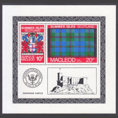 Summer Isles 1981 Clan Tartan – MacLeod Miniature Sheet Printing Error (U/M)