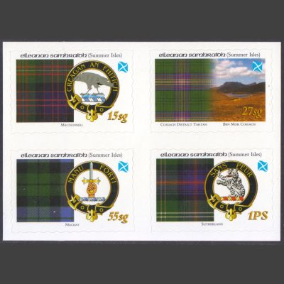 Summer Isles 2008 Tartans of the Far North – Second Issue - Se-tenant Block (4v, 15sg to 1PS, U/M)