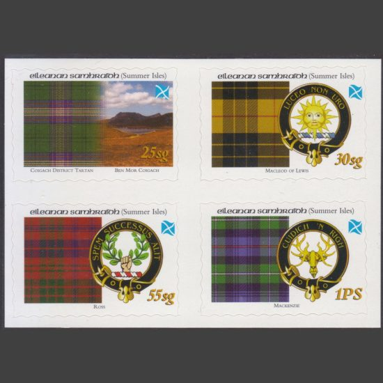 Summer Isles 2005 Tartans of the Far North – First Issue - Se-tenant Block (4v, 25sg to 1PS, U/M)