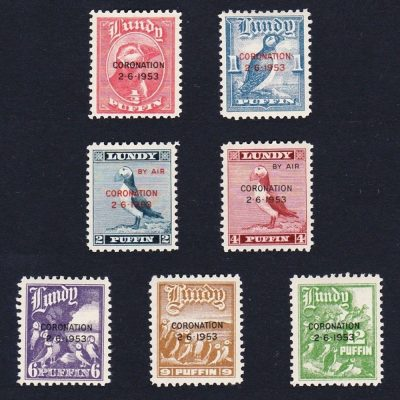 Lundy 1953 Coronation (7v, ½p to 12p, U/M)