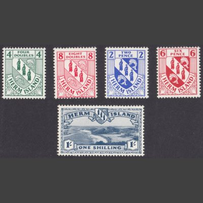 Herm Island 1954 Crest Issue (5v, 4db to 1s, U/M)