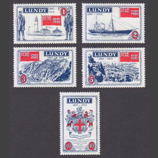 Lundy 1972 Trinity House - 75th Anniversary of Completion of the North and South Lighthouses (5v, 1p to 10p, U/M)