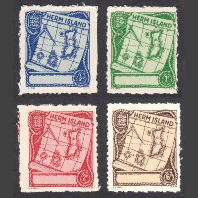 Herm Island 1949 Map Definitives (4v, ½d to 6d, U/M)