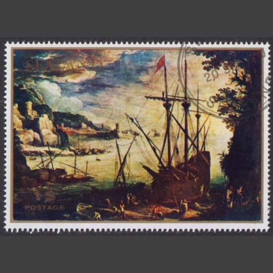 "Sealand 1970 ""The Port"" Painting ($1 – single value, CTO)"