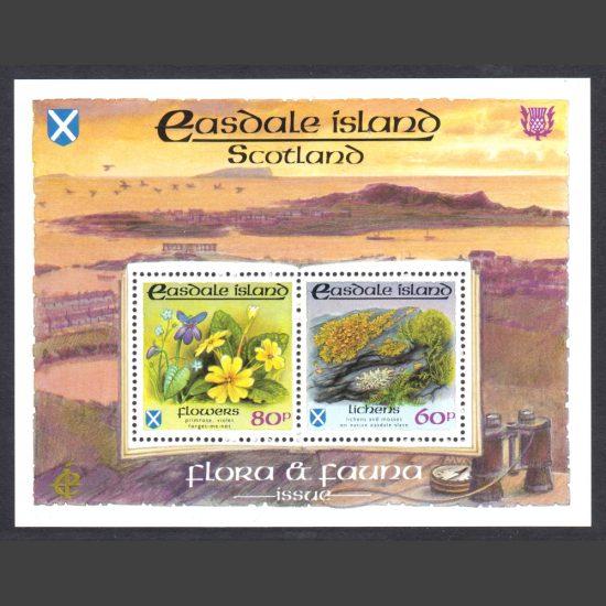 Easdale Island 1988 Flora & Fauna Miniature Sheet - Flowers & Lichens (2v, 60p and 80p, U/M)