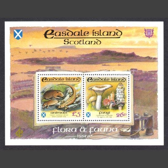 Easdale Island 1988 Flora & Fauna Miniature Sheet - Fungi & Animals (2v, 26p and £5, U/M)