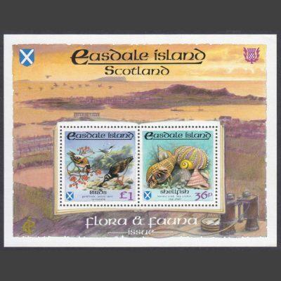 Easdale Island 1988 Flora & Fauna Miniature Sheet - Shellfish & Birds (2v, 36p and £1, U/M)