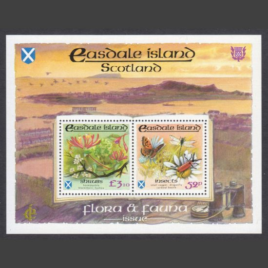 Easdale Island 1988 Flora & Fauna Miniature Sheet - Insects & Shrubs (2v, 52p and £3.10, U/M)