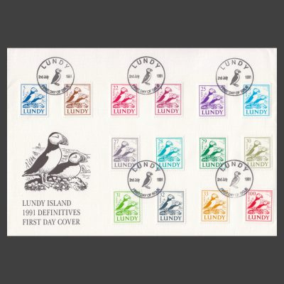 Lundy 1991 'Puffins on Coast' Definitives First Day Cover (FDC)