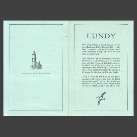 """Lundy c1954 """"Souvenir Selection"""" of Stamps Mounted on Green Card"""