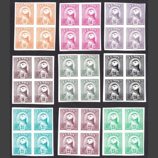 Lundy 1982 Definitives 9v in Imperforate Blocks of Four (U/M)