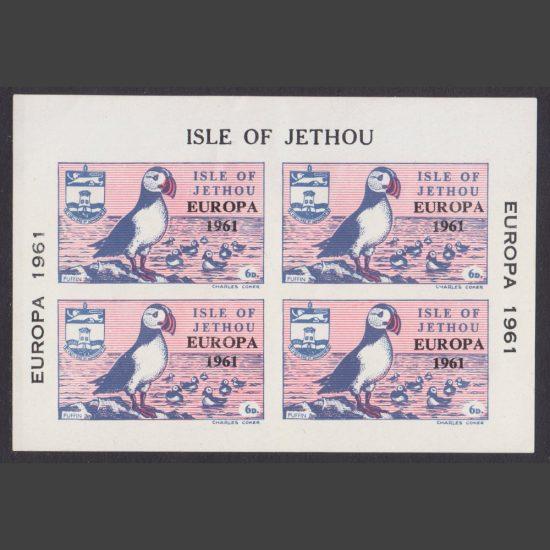 Isle of Jethou 1961 Europa Imperforate Miniature Sheet (4x 6d, U/M)